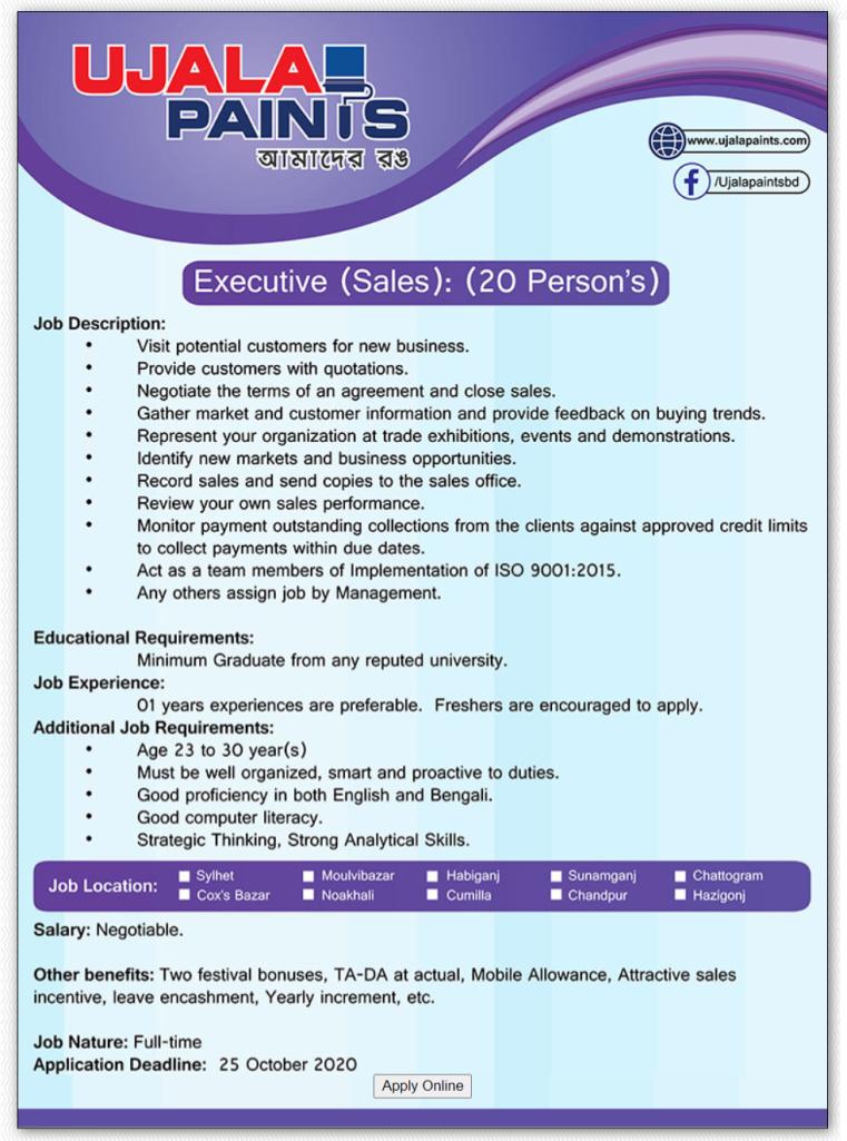 Ujala Paints Job Circular 2020